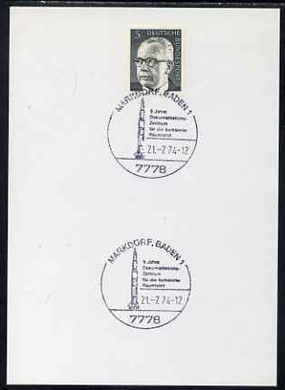 Postmark - West Germany 1974 postcard bearing 5pfg stamp with special cancellation for 5th Anniversary of Centre for Manned Space