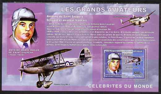 Congo 2006 Great Aviators perf s/sheet containing 1 value (Antoine de Saint-Exupery & Bristol Bulldog II) unmounted mint