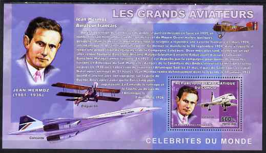 Congo 2006 Great Aviators perf s/sheet containing 1 value (Jean Mermoz & Concorde) unmounted mint