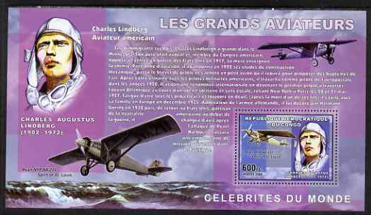 Congo 2006 Great Aviators perf s/sheet containing 1 value (Charles Lindberg & Spirit of St Louis) unmounted mint