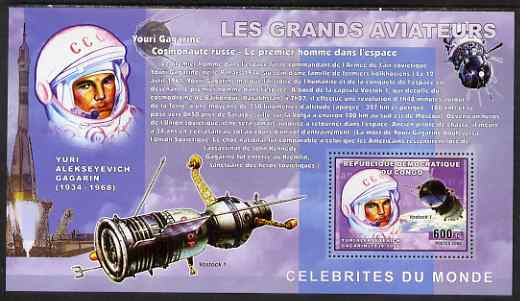 Congo 2006 Great Aviators perf s/sheet containing 1 value (Yuri Gagarin & Vostok 1) unmounted mint