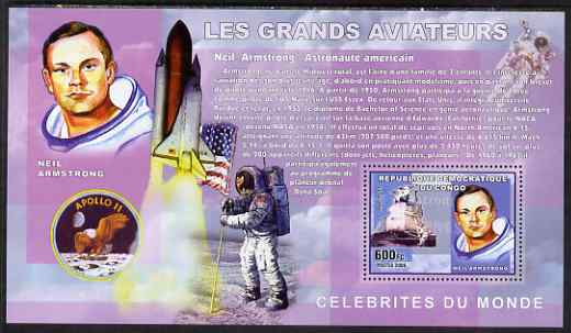 Congo 2006 Great Aviators perf s/sheet containing 1 value (Neil Armstrong & apollo 11) unmounted mint