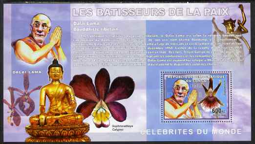 Congo 2006 Champions of Peace with Orchid & Buddist Statues perf s/sheet containing 1 value (Dalai Lama) unmounted mint