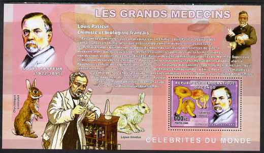 Congo 2006 Medical Celebrities perf s/sheet containing 1 value (Louis Pasteur & mushrooms) unmounted mint