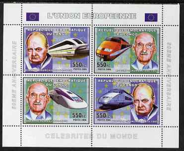 Congo 2006 50th Anniversary of European Union perf sheetlet containing 4 values (2 x Churchill, 2 x R Schuman) unmounted mint