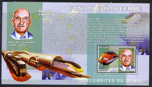 Congo 2006 50th Anniversary of European Union perf s/sheet containing 1 values (Robert Schuman & High Speed Train) unmounted mint