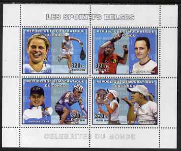 Congo 2006 Belgian Sports Personalities perf sheetlet containing 4 values (Kim Clijsters, Jean-Michel Saive, Bart Wellens, Justine Henin-Hardenne) unmounted mint