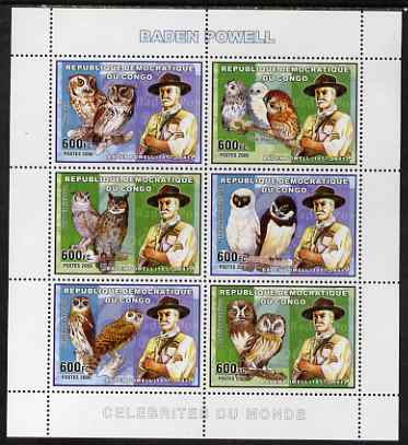 Congo 2006 Lord Baden Powell with Owls perf sheetlet containing 6 values unmounted mint