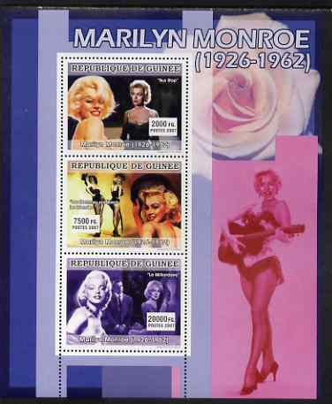 Guinea - Conakry 2007 Marilyn Monroe perf sheetlet containing 3 values, unmounted mint Yv 3038-40