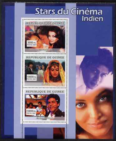 Guinea - Conakry 2007 Indian Film Stars perf sheetlet containing 3 values unmounted mint
