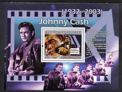 Guinea - Conakry 2007 Male Music Stars perf souvenir sheet (Johnny Cash) unmounted mint