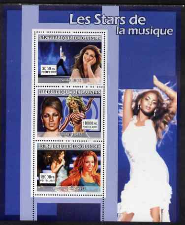 Guinea - Conakry 2007 Female Music Stars perf sheetlet containing 3 values (Celine Dion, Jennifer Lopez, Beyonce Knowles) unmounted mint