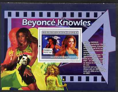 Guinea - Conakry 2007 Female Music Stars perf souvenir sheet (Beyonce Knowles) unmounted mint