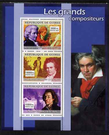 Guinea - Conakry 2007 Famous Composers perf sheetlet containing 3 values (Mozart, Beethoven, Chopin) unmounted mint