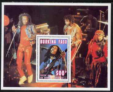 Burkina Faso 1995 Showbiz - 500f Bob Marley perf m/sheet unmounted mint