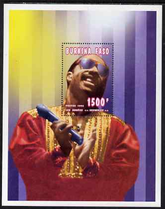 Burkina Faso 1995 Showbiz - 1500f Stevie Wonder perf m/sheet unmounted mint