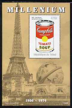 Chad 1999 Millennium - Tomato Soup by Andy Warhol perf m/sheet unmounted mint