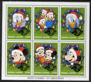Sierra Leone 1997 Disney - 70th Anniversary of Mickey & Minnie Mouse perf sheetlet containing 6 values unmounted mint (as SG 2813-18)