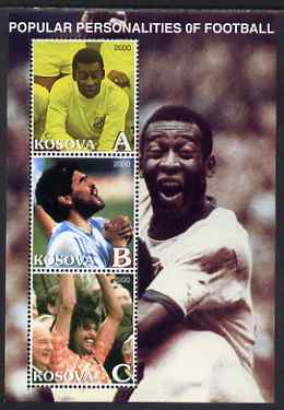 Kosova 2000 Popular Personalities of Football perf sheetlet containing set of 3 values unmounted mint