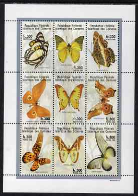 Comoro Islands 1998 Butterflies perf sheetlet containing 9 values unmounted mint , stamps on butterflies