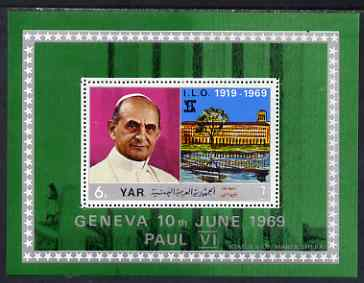Yemen - Republic 1969 International Labour Organisation 6b perf m/sheet (Pope Paul VI) unmounted mint Mi Bl 100