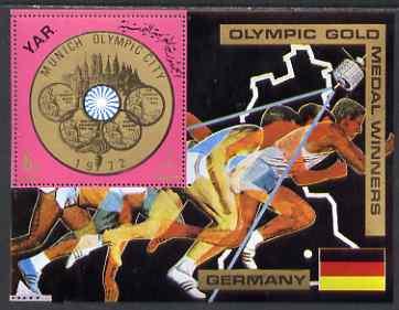 Yemen - Republic 1970 Olympic Gold Medallists - Germany perf m/sheet unmounted mint Mi Bl 149