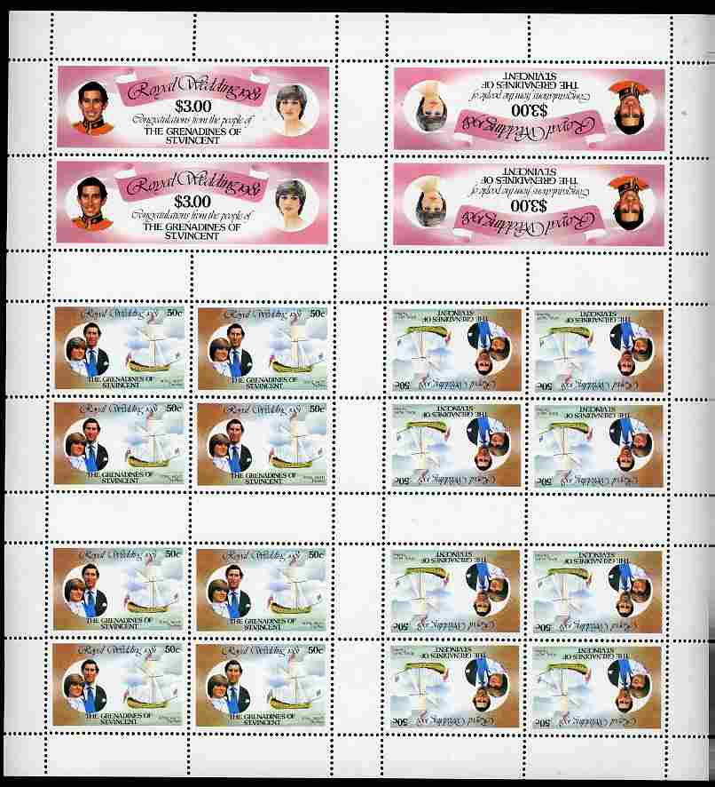Booklet - St Vincent - Grenadines 1981 Royal Wedding complete uncut sheet comprising 16 x 50c (Royal Yacht The Mary) in tete-beche blocks plus 4 x $3 (Honeymoon stamp) in...