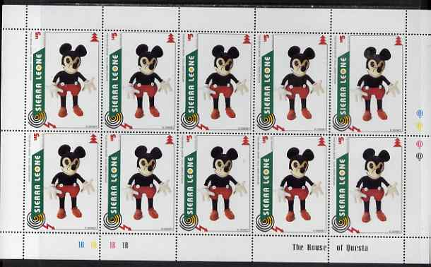 Sierra Leone 1995 Christmas - Disney Toys 5L Mickey Mouse Doll perf sheetlet containing 10 values unmounted mint, as SG 2391