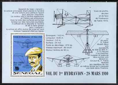 Senegal 1989 79th Anniversary of Fabre's Seaplane Flight perf m/sheet unmounted mint, SG MS 1037