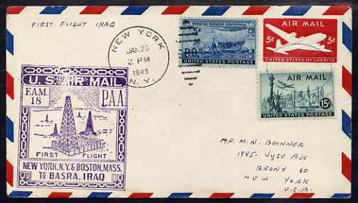 United States 1949 First Flight cover to Basra, Iraq with special FAM 18 cachet showing Oil Derricks