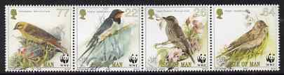 Isle of Man 2000 WWF Endangered Species - Song Birds perf se-tenant strip of 4 unmounted mint SG 882a