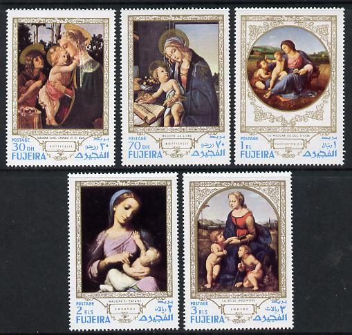 Fujeira 1970 Paintings of the Madonna set of 5 unmounted mint (Mi 594-8A)