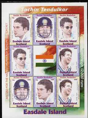 Easdale 2008 Sachin Tendulkar (cricketer) perf sheetlet containing 8 values plus label, unmounted mint, stamps on sport, stamps on personalities, stamps on cricket