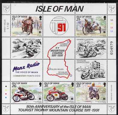 Isle of Man 1991 80th Anniversary of TT Mountain Course perf m/sheet unmounted mint SG MS 483