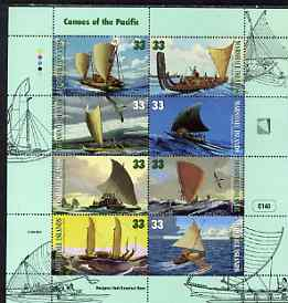 Marshall Islands 1999 Canoes of the Pacific perf sheetlet containing set of 8 plus unmounted mint, SG 1130-37