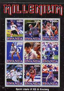 Rwanda 1999 Millennium - Sport Stars of the 20th Century perf sheetlet containing 9 values unmounted mint