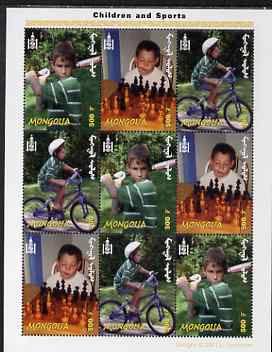Mongolia 2002 Children & Sport perf sheetlet containing 9 values (3 sets of 3) unmounted mint, as SG 2991-3, stamps on sport, stamps on children, stamps on baseball, stamps on chess, stamps on bicycles