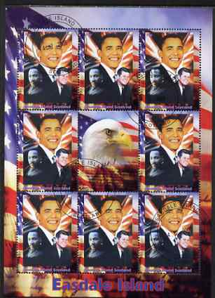 Easdale 2008 Barack Obama perf sheetlet containing 8 values plus label, fine cto used