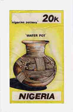 Nigeria 1990 Pottery - original hand-painted artwork for 20k value (Water Pot) by NSP&MCo Staff Artist Clement O Ogbebor on card 5 x 9 endorsed B3 on back