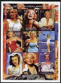 Madagascar 1999 Marilyn Monroe perf sheetlet containing complete set of 9 values fine cto used