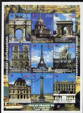 Madagascar 1999 Philex France '99 - French Landmarks perf sheetlet containing complete set of 9 values fine cto used