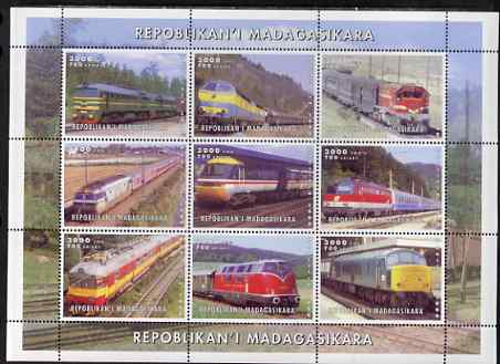 Madagascar 1999 Railways (Modern) perf sheetlet containing set of 9 values unmounted mint