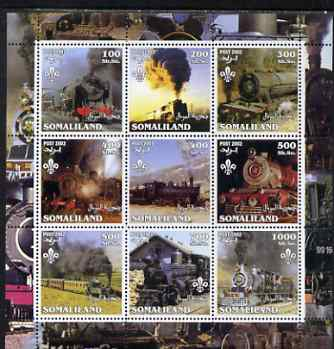 Somaliland 2002 Steam Trains #2 perf sheetlet containing set of 9 values each with Scout Logo unmounted mint