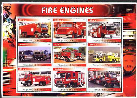 Somalia 2002 Fire Engines #1 perf sheetlet containing set of 9 values unmounted mint