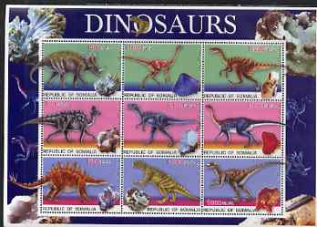 Somalia 2003 Dinosaurs & Minerals perf sheetlet containing 9 values unmounted mint. Note this item is privately produced and is offered purely on its thematic appeal