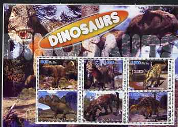 Somalia 2003 Dinosaurs large perf sheetlet containing 6 values unmounted mint