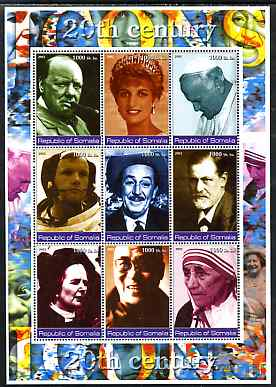Somalia 2002 Personalities of the 20th Century #2 perf sheetlet containing 9 values, unmounted mint. Note this item is privately produced and is offered purely on its thematic appeal (Churchill, Pope, Disney, N Armstrong, Diana, Mother Teresa, etc)