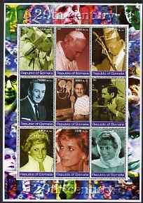 Somalia 2002 Personalities of the 20th Century #1 perf sheetlet containing 9 values, unmounted mint. Note this item is privately produced and is offered purely on its thematic appeal (Pope, Walt Disney & Princess Diana)