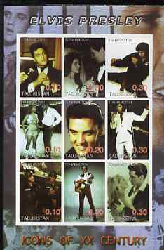 Tadjikistan 2001 Icons of the 20th Century - Elvis Presley imperf sheetlet containing set of 9 values unmounted mint