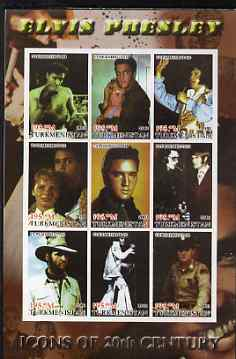 Turkmenistan 2001 Icons of the 20th Century - Elvis Presley imperf sheetlet containing set of 9 values unmounted mint. Note this item is privately produced and is offered...